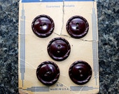RESERVED FOR KIMBERLY-vintage brown bakelite buttons 2 holes. 5 buttons. 1940's