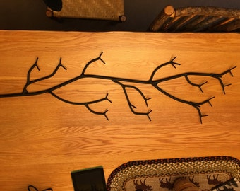 Coat rack ,Wall mounted branch, finished in flat black