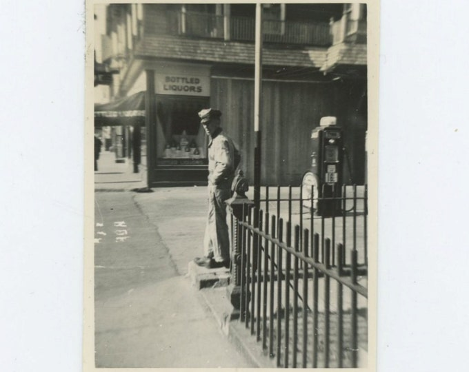 "1941 Vintage Snapshot Photo: ""Duke"" Dupere, Perry's Garage [65455]"
