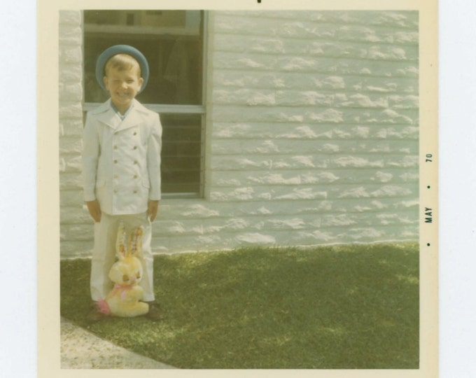 Vintage Snapshot Photo: Boy with Easter Bunny, 1970 (69499)