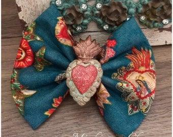Dia de Los Muertos Sacred Heart Hair bow clip accessories