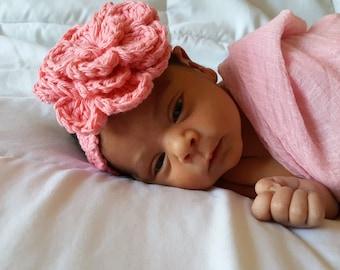 Crochet Baby Headband, Baby Girl Headband, Cotton Baby Headband, Baby Girl Accessories, Newborn Headband, Flower Hair Accessories, Baby Girl