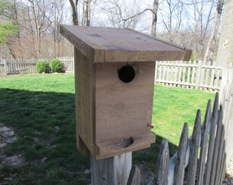 Rustic, knothole entrance Bluebird nest box