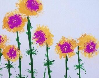 Happy Flowers, Original Art, Flower Art
