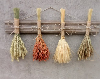 Rustic Home Decor, Dried Grain Rack, Wall Hanging, Dried Flowers, Fall Decor, Dried Flower Rack, Modern Home Decor