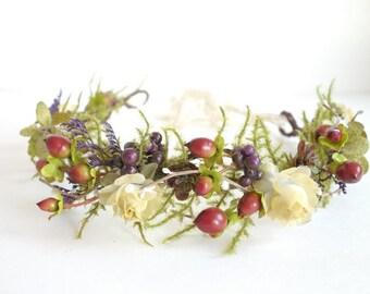 Fall Bridal Crown, Flower Crown, Woodland Headdress, Boho Wedding, Head Wreath, Maternity Photo Shoot, Bridal Flower Crown, Fern Head Wreath