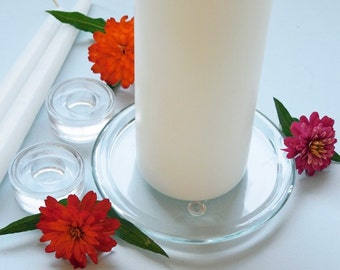 Glass Wedding Unity and Taper Candle Holders