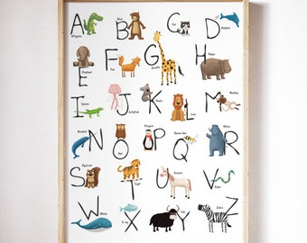 ABC Animal Alphabet print. Alphabet art . Nursery art. Alphabet Spanish. Alphabet  catalan. Alphabet italian. Kids Room Decor. 30x40