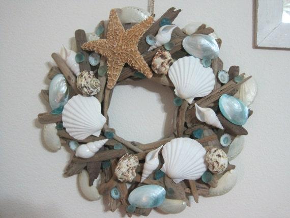 Beach Decor Seashell And Sugar Starfish Driftwood Wreath
