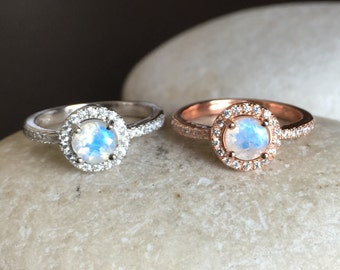 Rainbow Moonstone Engagement Ring- Moonstone Promise Ring- Rose Gold Moonstone Ring- June Birthstone Ring- Classic Anniversary Ring