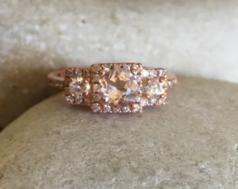 Morganite Rose Gold Ring- Three Stone Engagement Ring- Promise Ring for Her- Art Deco Bridal Wedding Ring- Vintage Inspired Morganite Ring