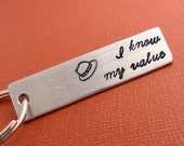 I Know My Value - A Hand Stamped Aluminum Keychain