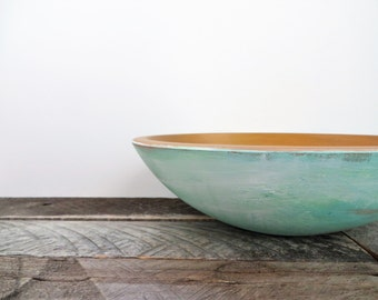 Decorative Bowl - Greeny Blue with Bronze - Modern Beachy Chic - Catch All Bowl