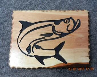 Hand Carved sign on Cedar Wood  Tarpon Fish