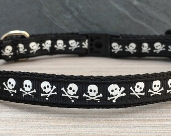 "Cat Collar - White Skulls on Black or Pink Ribbon on 1/2"" black nylon webbing - with break away safety clasp and optional jingle bell -"