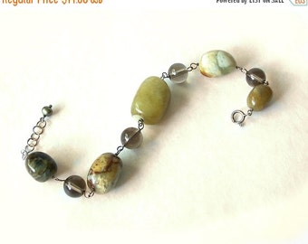 Vintage Tumbled Stone Bracelet Jasper Agate Quartz Glass Beads green
