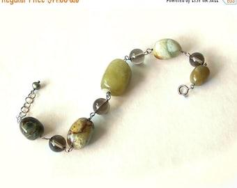 Vintage Tumbled Stone Bracelet Jasper Agate Quartz Glass Beads green