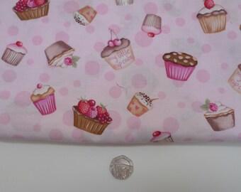 Cupcake fabric, pink cotton, cake, timeless treasures, fat quarter
