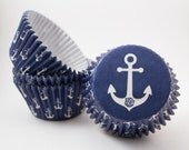 Navy Anchor cupcake liners (approx 40 ct) -  Nautical Anchor baking muffin cups greaseproof bulk cupcake papers
