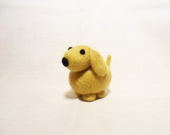 Needle Felted Dog -  miniature brown dog figure - 100% merino wool - wool felt dog - needle felted animal - felt dog - minature dog