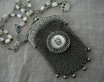 Assemblage Necklace Chatelaine Purse Mother of Pearl Rosary Notre Dame Brooch