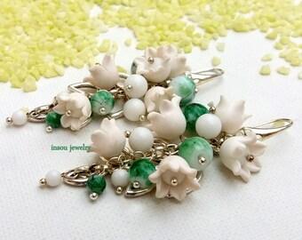 Flower Earrings White Green Flower Jewelry White Flowers Lily Of The Valley Dangle Earrings Handmade Earrings Spring Jewely Gift For Her