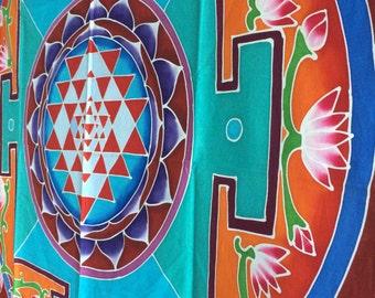 Summer sale 20%Off coupon code: SUMMERSALE2017  Sri yantra batik handpainted yoga meditation organic cotton meditation room altar decoration