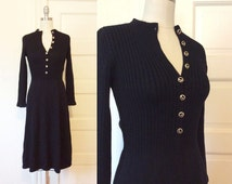 Vintage 1980's St. John for Saks Fifth Avenue Fit and Flare Black Knit Sweater Dress - Size S/XS