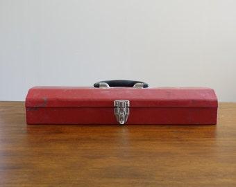 Vintage Red Metal Tool Box