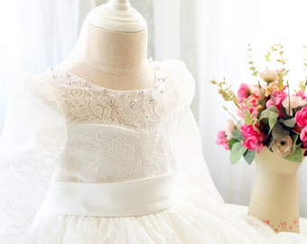 Long Sleeves Toddler Easter Dress in Ivory Lace, Baby Girl Dress, Infant Pageant Dress PD104-1