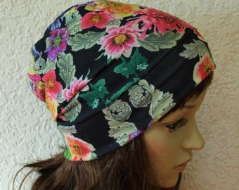 Floral beanie, summer hat, summer beanie, stylish hat, summer head wear, made in stretchy viscose jersey