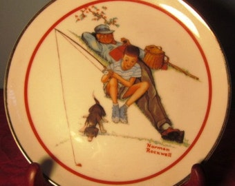 """Vintage """"Waiting For Dinner"""" Norman Rockwell Plate"""