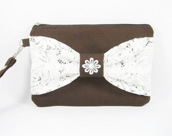 SUPER SALE - Brown with White Lace Bow Clutch - Bridal Clutches, Bridesmaid Wristlet, Wedding Gift - Made To Order