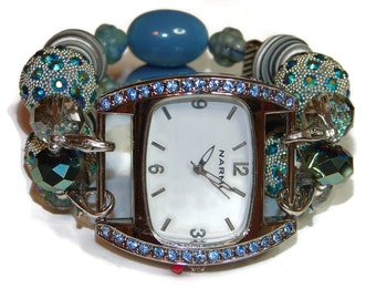 Blue for You Chunky Beaded Watch - Interchangeable Watch - BeadsnTime - Apple Watch Band - Unique Watch- Bracelet Watch - Stretch Watch