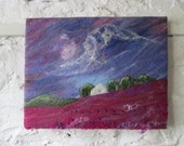 felted landscape, sky scape, felt painting, abstract art on canvas 14 x 18 inches