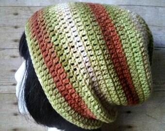 Orange Green Stripe Slouch - Crochet Slouchy Beanie - Womens Slouchy Hat - Hipster Hat