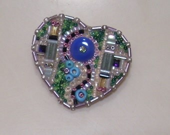 Bead mosaic heart pin. One of a kind.
