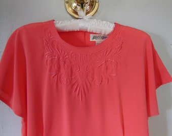 90s Coral Embroidered Blouse