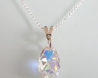 new sterling silver & swarovski 16mm pear crystal ab necklace