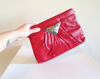 Vintage 1980s Wicked Red Leather Clutch Purse