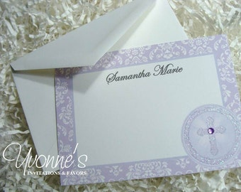 Thank You Note for Communion, Confirmation, Christening, Baptism - Purple/Lavender Holy Cross for Religious Event