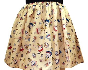 Cream Alice in Wonderland Full Skirt