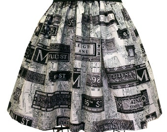 Retro NYC Subway Full Skirt