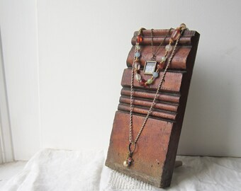 SALE Necklace Display for Multiple Lengths - Antique Architectural Salvage - Recycled Wood - Retail Jewelry Display