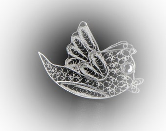 PIN twitter in silver embroidery