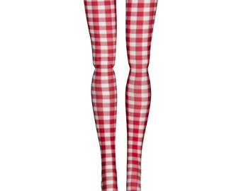 Momoko 1/6 Scale BJD Doll Stockings - Red & White Check - Doll Clothes - 27cm