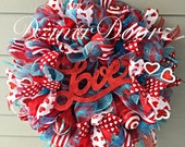 Valentine LOVE red and turquoise mesh wreath