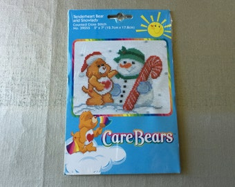 CARE BEARS Counted Cross Stitch Kit Tenderheart Bear and Snowlady