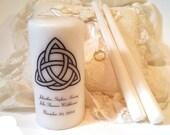 Trinity Unity Candle, Triquetra Unity Candle, Unity Candle Set, Wedding Candle Set, Celtic Unity Candle, Customized Unity Candle