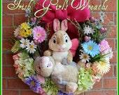 Twitterpated Thumper Valentine Easter Springtime Wreath, Gerbera Daisy, hydrangea